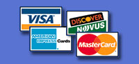 We accept Visa, Mastercard, Discover and American Express
